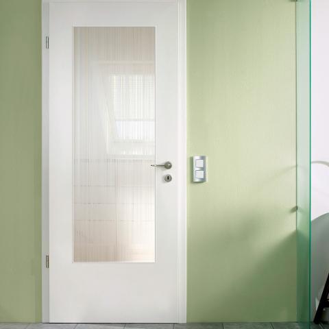 Festett fehér Lista due üvegezett ajtó