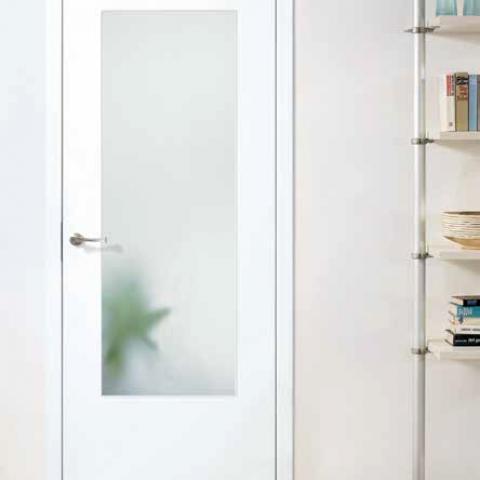 CPL fehér ajtó üvegezett, síkban záródó kivitel