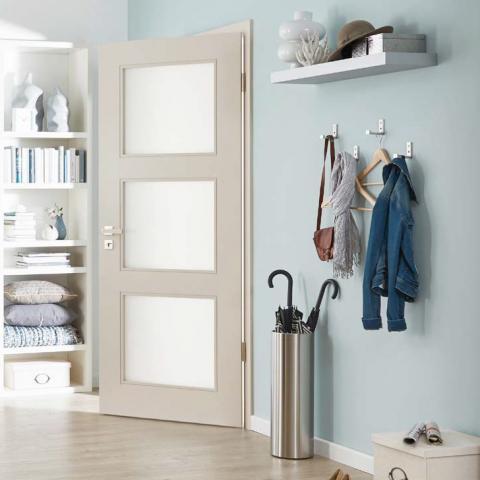 Festett ajtó Classique Nouveau, üvegezett kivitel, Stone szín